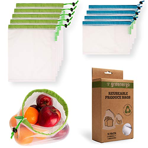 - GreenerGo 9 Machine-Washable, Reusable Produce Bags: Eco-Friendly Mesh Bags Made from rPET - Fully Transparent with Drawstring - for Fruits, Veggies and More - Barcode Readable - Zero-Waste Products