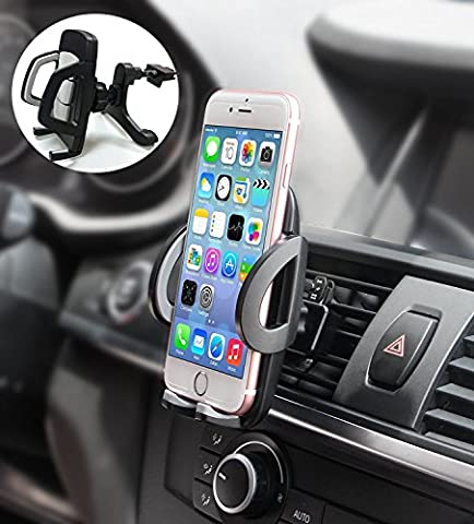 Sanluba 360 Degree Rotation with Quick Release Button Universal Car Air Vent Mount Holder for iPhone 7/7 Plus,6s/6 Plus/6/5s/5c ,Samsung Galaxy S8 - Impala Vent