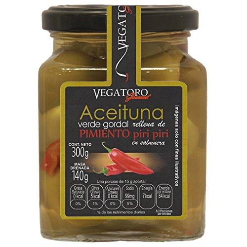 Vegatoro Aceitunas Manzanilla con Pimiento Piri-Piri, 300 g