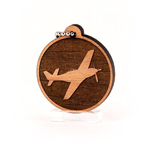 - Sunset Design Lab P-51 Mustang WWII Planes V2 Wood Laser Cut Keychain Charm Ornament