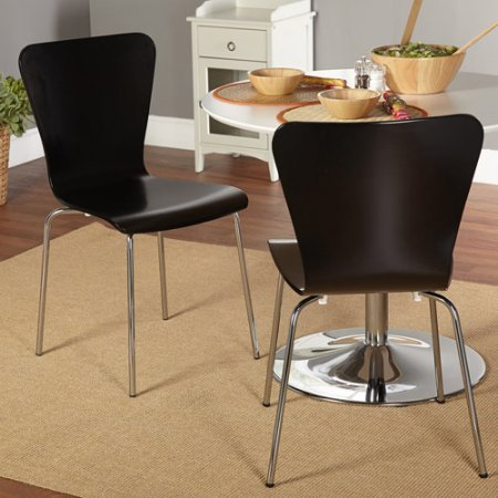 (Attractive Modern Kitchen Dining Chair, Set of Two, Features Retro Hourglass Shape and Chic Chrome-Plated Metal Legs, Can Be Conveniently Stacked and Stored, Black + Expert Guide)