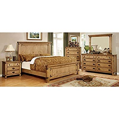 Pioneer Cottage Style Weather Elm Finish 6-Piece Bedroom Set