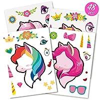 Mocoosy 48Pcs Make A Unicorn Stickers for Kids Unicorn Party Favors Fun Craft Game Rainbow Unicorn Birthday Party Supplies 4 Styles