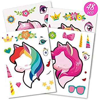 Mocoosy 48 Make A Unicorn Stickers for Girls - Unicorn Favors for Kids Party Sticker Art Craft Project, Make A Face Sticker Sheet Rainbow Unicorn Birthday Party Supplies Game Activities Gifts
