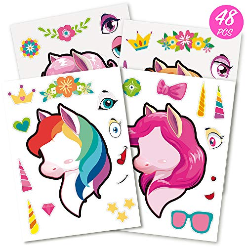 Mocoosy 48PCS Make A Unicorn Stickers for Kids, UnicornStickers Party Favors Match Sticker Sheets Unicorn Theme Birthday Party Favor Supplies Fun Craft Project for Children