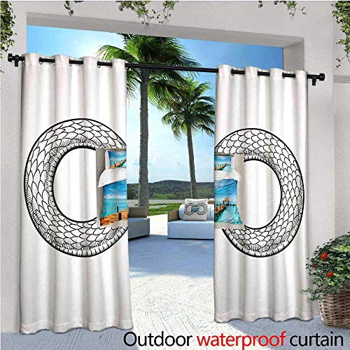 cobeDecor Medieval Patio Curtains Snake Curled in Infinity Ring Middle Age Masonic Symbol Art Sketch Illustration Outdoor Curtain for Patio,Outdoor Patio Curtains W108 x L108 Black ()