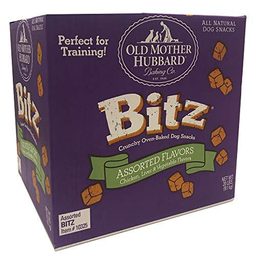 Old Mother Hubbard Bitz Natural Crunchy Dog Training Treats, Chicken, Liver & Veggies, 20-Pound Box Dog Biscuits 20 Lb Box