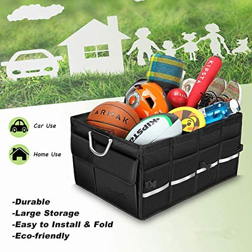 Trunk Organizer Cargo Organizer COCOBELA Trunk Storage Waterproof Collapsible Durable Multi Compartments with Foldable Cover Aluminium Alloy Handle Reflective Strip