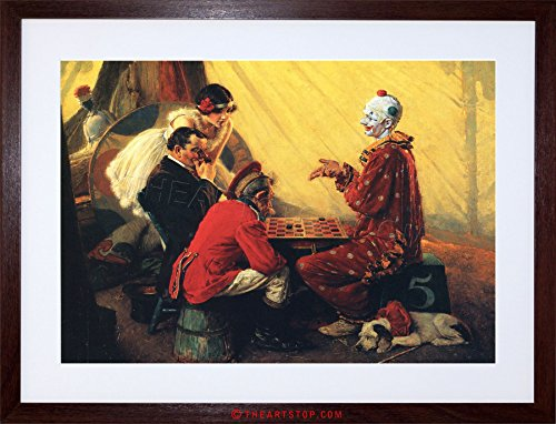 The Art Stop Painting Portrait Checkers Draughts Clown Circus USA Framed Print F97X4904