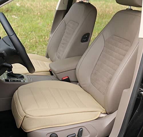 (W53x L54cm) PU leather car seat cushion car seat protectorcar seat cover for BMW/ 5 Series, X3, X4,X5 & Audi A8 / Q7/Mercedes Benz GLS / GL / M / S (L, Beige)