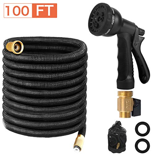 Page Hodge Expandable Garden Hose, 100 FT Flexible Water Hose, Triple Layered Latex Core & 8 Patterns Spray Nozzle for Home & Heavy Duty Commercial Use (100 FT, Black) (100 FT)