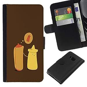 For HTC One M9 Case , Hot Dog Mustard Cartoon Minimalist - la tarjeta de Crédito Slots PU Funda de cuero Monedero caso cubierta de piel