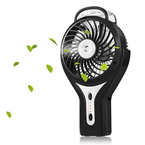 (Welltop Mini Handheld USB Misting Fan with Personal Cooling Mist Humidifier Rechargeable Portable Mini Misting Cooling Fan for Home Office and Travel (Black))