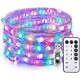 TaoTronics LED String Lights, 33ft 100 LEDs USB Powered Dimmable Copper Fairy String Lights, Warm White & 4 RGB Colors, 16 Lighting Modes, Remote Control, IP65,Decorative Lights for DIY bedroom, Patio, Yard