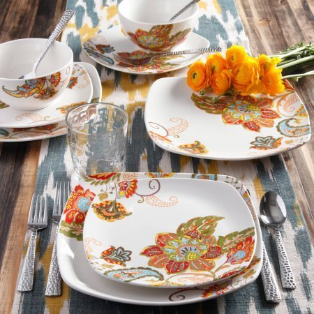 Floral Spray 16-Piece Square Dinnerware Set by Better Homes and Gardens