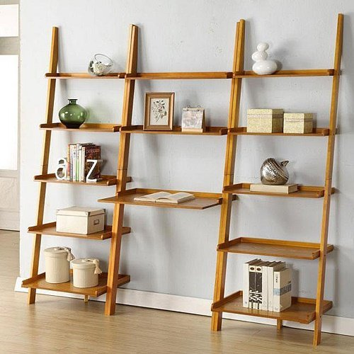 Home Oak Leaning Ladder 3-piece Shelf