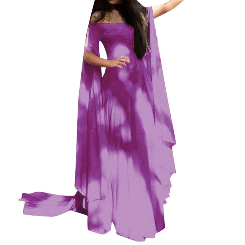 Sunyastor Renaissance Costumes Dress for Women Trumpet Sleeves Fancy Medieval Gothic Off Shoulder Cosplay Gown Dress Purple by Sunyastor Women Dresses