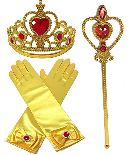 Princess Belle Yellow Dress up Party Accessories - 3 Piece Gift Set: Gloves, Tiara and Wand (Cinderella Wedding Dress Costume)