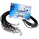 Mudder 10 Pieces 2.0mm Black Leather Necklace Cord