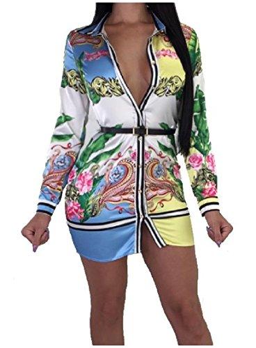 Sovradimensionata Coolred Camicetta Corto Azzurro Stampa Cardigan Elegante donne Floreale Abito Monopetto Pendolari Sexy 6Bq1v