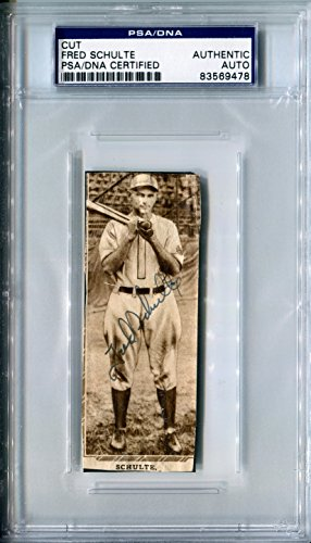 (One of a Kind FRED SCHULTE (d.1983) Signed Original Rare PSA/DNA Slabbed Cut Vintage Signature on Newspaper Photo St Louis Browns Auto)