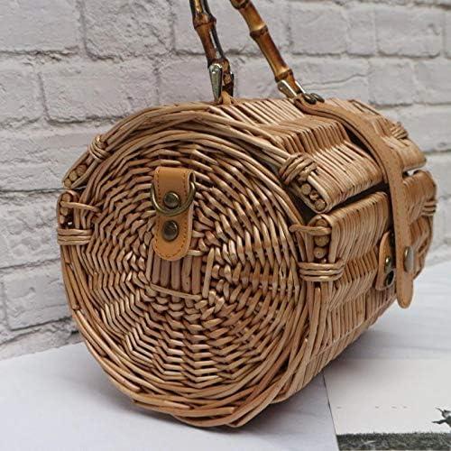 YLH Borse Natura Originale bambù Tattan Woven Crossbody a Mano Stile Vintage for Casual Fashion Vacanze (Color : with Strap) With Strap