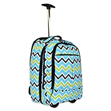 Ever Moda Rolling Laptop Case - Rolling Wheeled Laptop Case for Students & Professionals - Rolling Laptop Bag for 17-inch Laptops - Doubles up as a Laptop Backpack/Carry-on Case - Blue Green Chevron