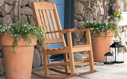 TeakStation Grade-A Teak Wood Outdoor Patio Garden Rocker / Rocking Arm Chair [Model:DV] (Garden Wood Rocker)