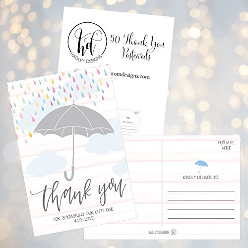 50 4x6 Rain Umbrella Blank Thank You Postcards Bulk, Cute Modern Sprinkle Baby Shower Rainbow Showered With Love Thank You Note Card Stationery For Wedding Bridesmaid Bridal, Religious, Holiday Photo #3