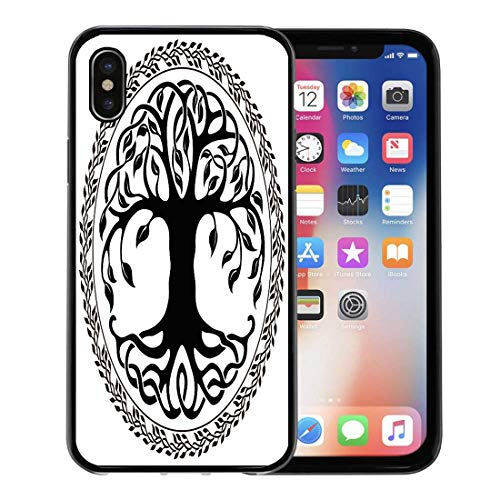 (Emvency Phone Case for Apple iPhone Xs Case/iPhone X Case,Black Branches Celtic Tree of Life Floral Round Border Soft Rubber Border Decorative, Black)