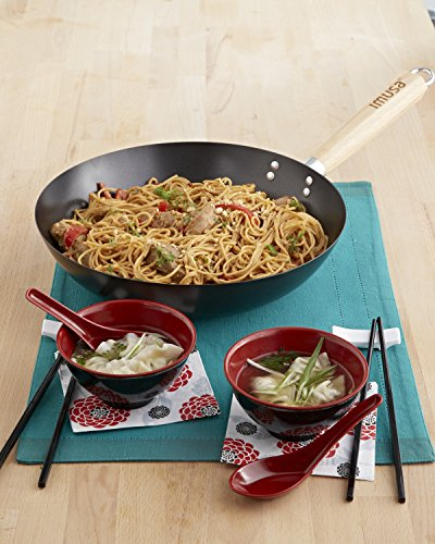 IMUSA USA IMU-52005 Nonstick Wok with Wood Handle 11-Inch, Silver