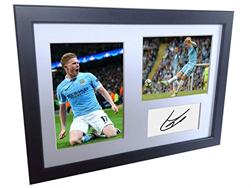 Manchester City Photo - Signed Black Soccer Kevin De Bruyne Manchester City Autographed Photo Photographed Picture Frame A4 12x8 Football Gift
