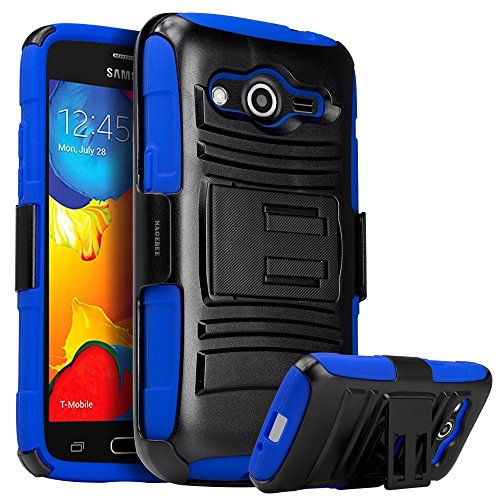 Galaxy Prevail LTE Case,Galaxy Core Prime Case, Nagebee Heavy Duty Hybrid Armor Dual Layer Rhino Kickstand Belt Clip Holster Combo Rugged Case for Samsung Galaxy Prevail LTE ,Samsung Galaxy Core Prime (Holster Combo Blue)