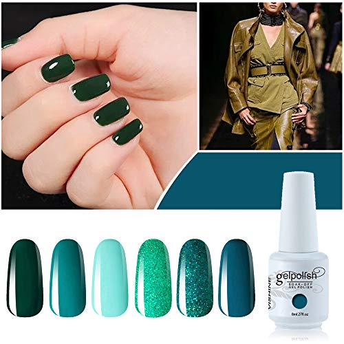 (Vishine Gel Polish Set Green Teal Blue Glitter Colors 6pcs Soak Off UV LED Gel Nail Manicure Kit 8ML)