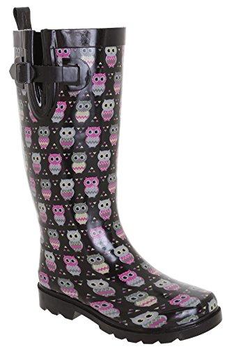 Capelli New York Ladies Shiny Owl Printed Rain Boot Black Combo 10 ()
