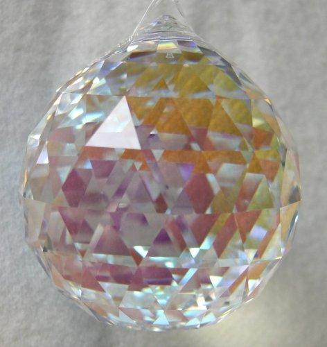 (Swarvoski Strass Crystal 40mm Faceted Ball Prism - Aurora Borealis)
