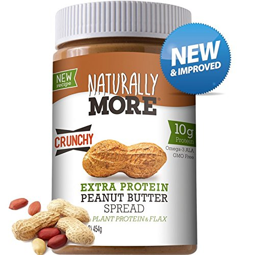 Naturally More Natural Crunchy Peanut Butter Spread + 10g Protein + Flaxseed (Peanut Butter With Flax And Chia Seeds)