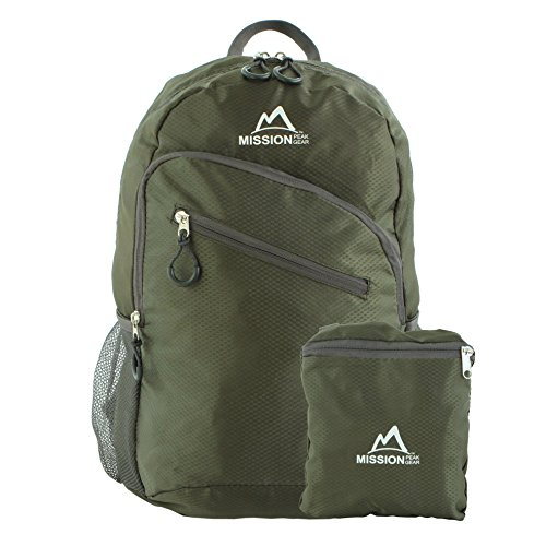 Mission Peak Gear Lite 1800 Foldable Packable Hiking Backpack Daypack, Ultra Lightweight, Durable Light Backpack, Camping, Outdoor, Travel, Biking, School, Carry On Backpack (Dark Green)