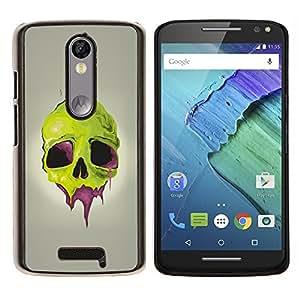 LECELL--Funda protectora / Cubierta / Piel For Motorola MOTO X3 3rd -- Cráneo verde --