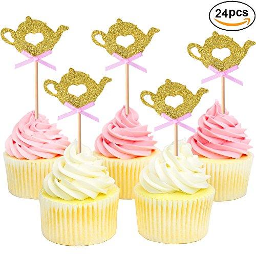 Golden Glitter Teapot Cupcake Toppers Tea Party Baby Shower Picks