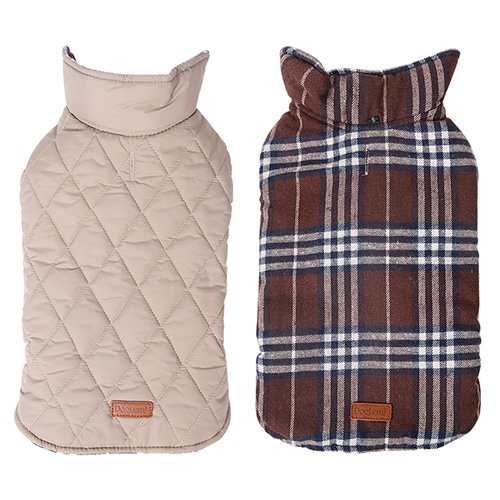 Brown XL Brown XL Reversible British Style Grid Dog Jacket GOPAW Water Repellent Quilted Winter Clothes for Pet Brown XL