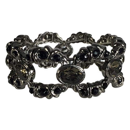 Gypsy Jewels Designer Look Open Rhinestone Stretch Bracelet (Black Oval Link)
