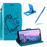 PU Leather Case For Huawei P20,Strap Magnetic Wallet Folio Cover for Huawei P20,Herzzer Elegant Slim Blue [Love Hearts Flower Embossed] Stand Phone Case