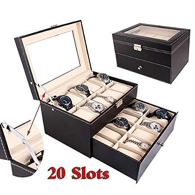 Tenozek 20 Slots PU Leather Watch Box Display J...
