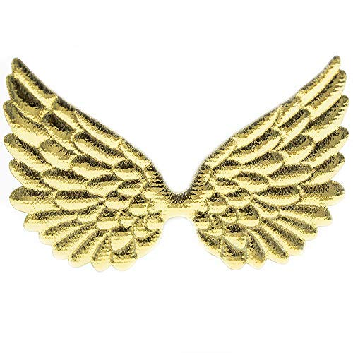 (Glitter Fabric Angel Wings Embossed Angel Wing Appliques for DIY Craft Project, Hair Accessory - Pack of 10 PCS (Metallic Gold))