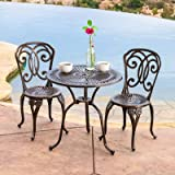 Stella Outdoor Anderson 3 Piece Bistro Set 2 Chairs and Table in White Finish Table (28.34'' H x 27.55'' W x 27.55'' L in.) Chair (35.43'' H x 22.83'' W x 18.89'' D in.)