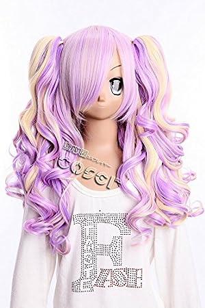 W de 15 lila Rubio Mix Gothic Lolita Harajuku rizos Curl 65 cm Cosplay peluca Wig