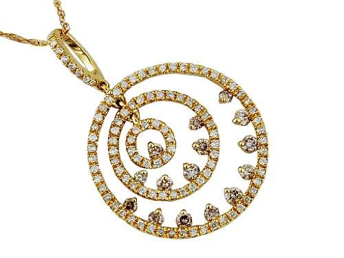 (Milano Jewelers .73CT White & Mocha Diamond 14KT Yellow Gold Circle of Life Journey Fun Pendant)