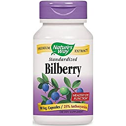 Nature\'s Way Bilberry Standardized Extract Veg Capsules 90 ea