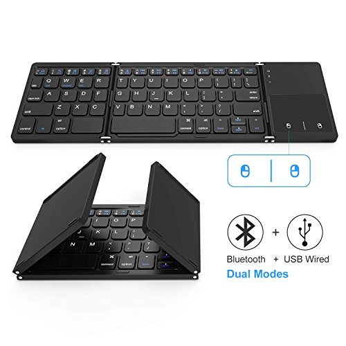 Foldable Bluetooth Keyboard, Vive Comb Dual Mode Bluetooth & USB Wired Rechargable Portable Mini BT Wireless Keyboard with Touchpad Mouse for Android, Windows, PC, Tablet-Black